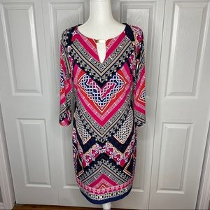 Laundry by Shelli Segal Pattern Dress Pink Black S